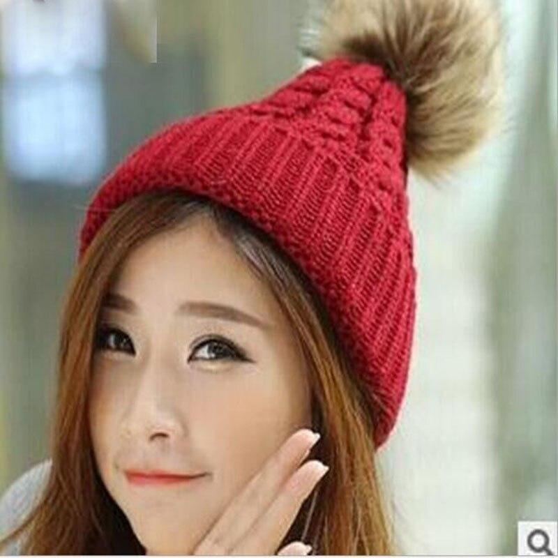 Free shipping 2016 new High-grade rabbit fur ball knitted warm hat wool cap Keep warm pointy hat woman beanieÎäåæäà è àêñåññóàðû<br><br><br>Aliexpress