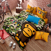 100% Cotton Home Textile Bape Camo Bedding Set Tide Brand Cartoon Bedding 4pcs Duvet Cover Bed Sheet Pillowcase Free Shipping
