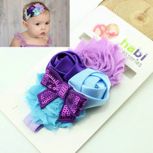 Retail  headband   pearl chiffon flower hairband children shabby flower headband   photography props