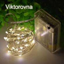 Viktorovna AA Battery Operated LED String Light Silver Wire LED Night Lamp Christmas Bedroom holiday Wedding Decor Xmas Light