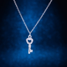925 sterling silver Necklace, 925 silver Pendant fashion jewelry , key inlaid shiny /cdtakvaa dvbammia LQ-P020