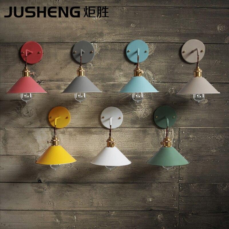 JUSHENG Retro American Loft Industrial Wall Lamps Vintage Bedside Wall Light Metal Lampshade E27 Edison Bulbs 110V/220V