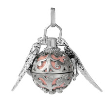 DoreenBeads Copper Wish Box Pendant Silver Tone Wing Carved With Sound Beads Ball Clear Rhinestone 40mm x 25mm, 1 PC(China)