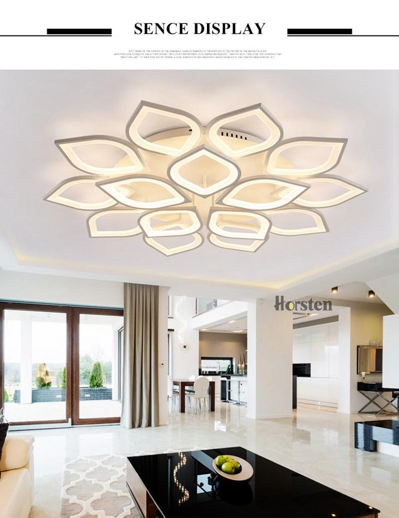 Horsten Remote Control Modern LED Ceiling Lights For Living Room Bedroom Acrylic Ceiling Lamps Flower Design Celing Lamp 90-260V (6)