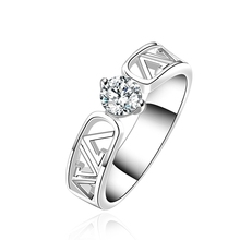 Silver plated rings crystal Rings influx of people geometry Hollow Zircon ring creative minimalist fashion sweet ring R605