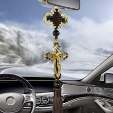 New Car Pendant Metal Diamond Cross Jesus Christian Religious Car Rearview Mirror Ornaments Hanging Auto Car Styling Accessories(China)