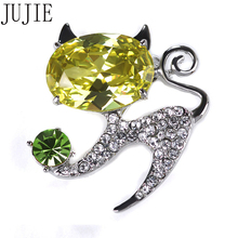 JUJIE 5 Color Brooches Luxury Shiny Rhinestone Cat Brooch Women Gold Color Scarf Lapel Brooch Pins Animal Fashion Jewelry(China)