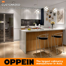 Guangzhou Modern White Matte Lacquer and Wood Grain Melamine Kitchen Cabinet OP16-L05