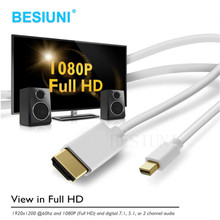 BESIUNI 1.8M/6FT Thunderbolt Displayport Mini Display Port DP to HDMI Male Adapter cable For Apple Macbook Mac Air(China)