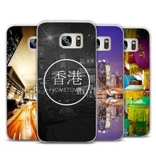 Hong Kong Sunset Skyscraper City Bay Clear Phone Case Cover for Samsung Galaxy Note 2 3 4 5 7 S3 S4 S5 Mini S6 S7 S8 Edge Plus