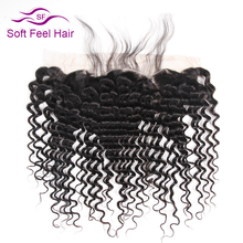 Soft Feel Hair Peruvian Deep Wave Frontal 13x4 Ear To Ear Lace Frontal Closure With Baby Hair Non Remy Human Hair Free Shipping