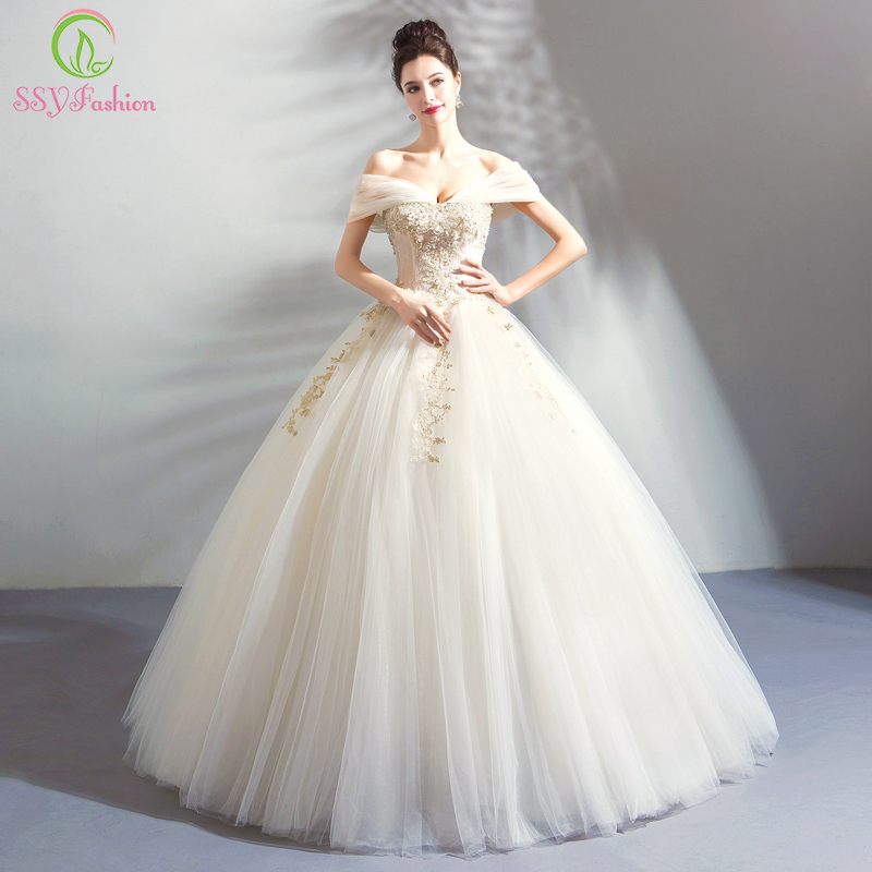 SSYFashion New Luxury Lace Wedding Dress The Bride Ivory Sweetheart Embroidery Beading A-line Wedding Gown Vestido De Noiva