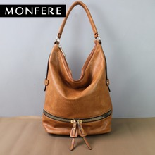 Monfere large casual HOBO fashion faux leather zipper shoulder bags female leisure luxury handbags women bags designer neutral(China)