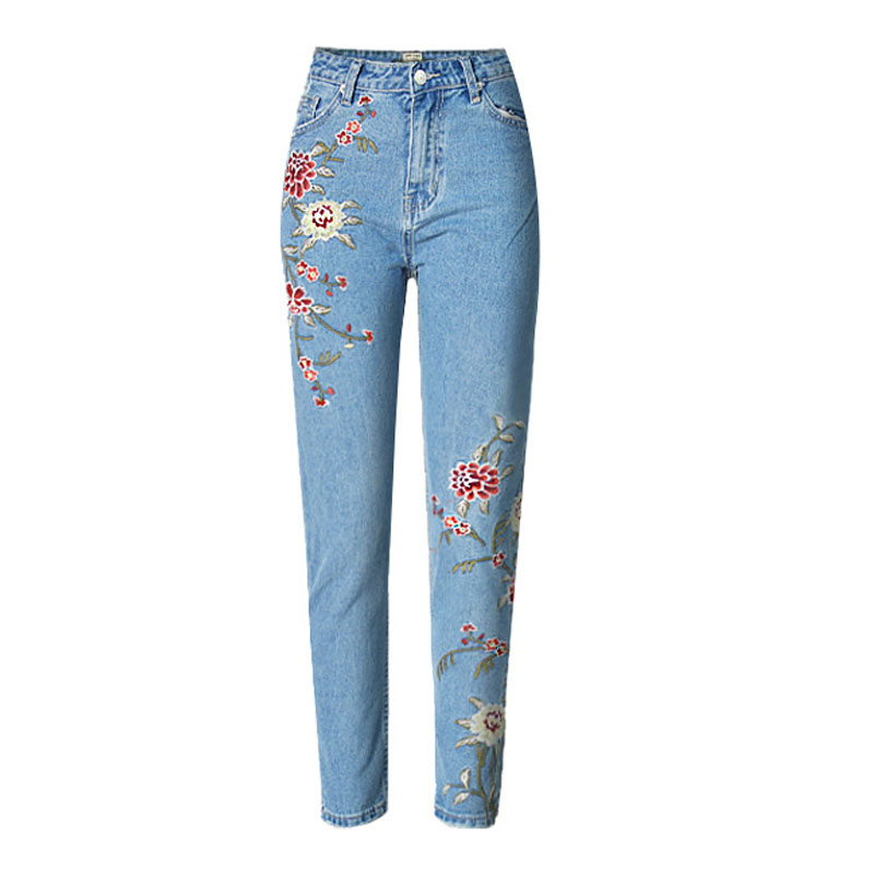 American Apparel BF Women Jeans High Waist Floral 3D Embroidery High Waist Ladies Straight Denim Pants Jeans Bottoms Plus SizeОдежда и ак�е��уары<br><br><br>Aliexpress