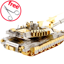 2017 Piececool 3D Metal Puzzle Toys For Children, P077-GS M1A2 SEP Tusk 2 Millitary Puzzle 3D Tank Models Toy Puzzles Car(China)