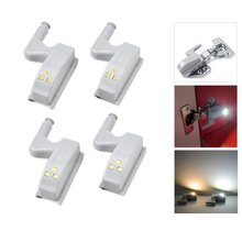 AIMENGTE10pcs/lot 3 LEDs Cabinet Wardrobe Hinge light Auto Switch ON OFF Guide Night light Mount on Cupboard Closet Door Lamp