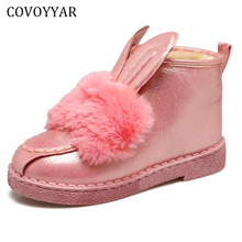 COVOYYAR 2017 Cute Rabbit Ear Snow Booties Winter Warm Bow Fur Ankle Boots Women Flat Cotton Shoes WBS708