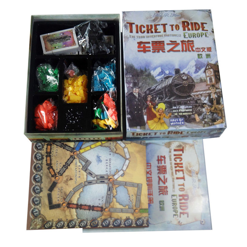 Ticket to Ride Europe Board Game 2-5 Players High Quality Paper Send English Instructions  Cards Game With Free Shipping<br>