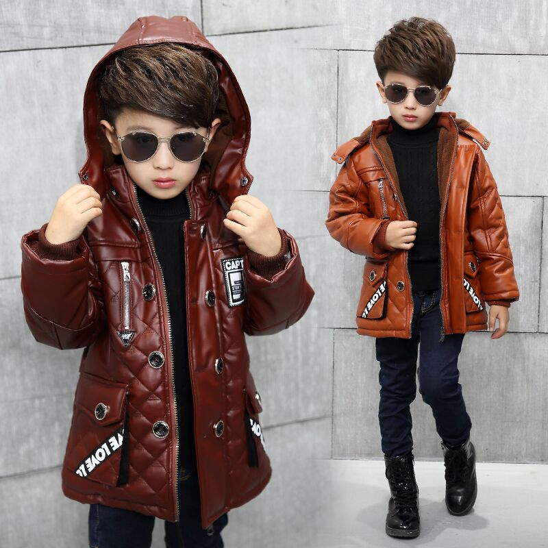 Childrens clothing 2017 boys winter plus velvet pu leather hooded medium-long thickening jackets &amp; coats 3-8Y<br><br>Aliexpress