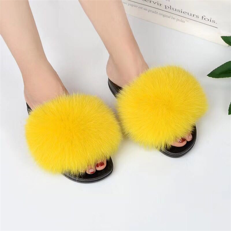 fur slippers yellow 4
