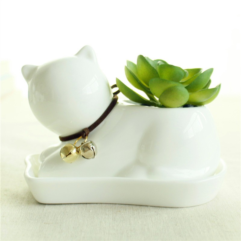 Cute Animal Potted Flowers Gardening Succulents Planter Pot White Ceramic Flowerpot Lovely Animal Succulent Plants Flowerpot 3