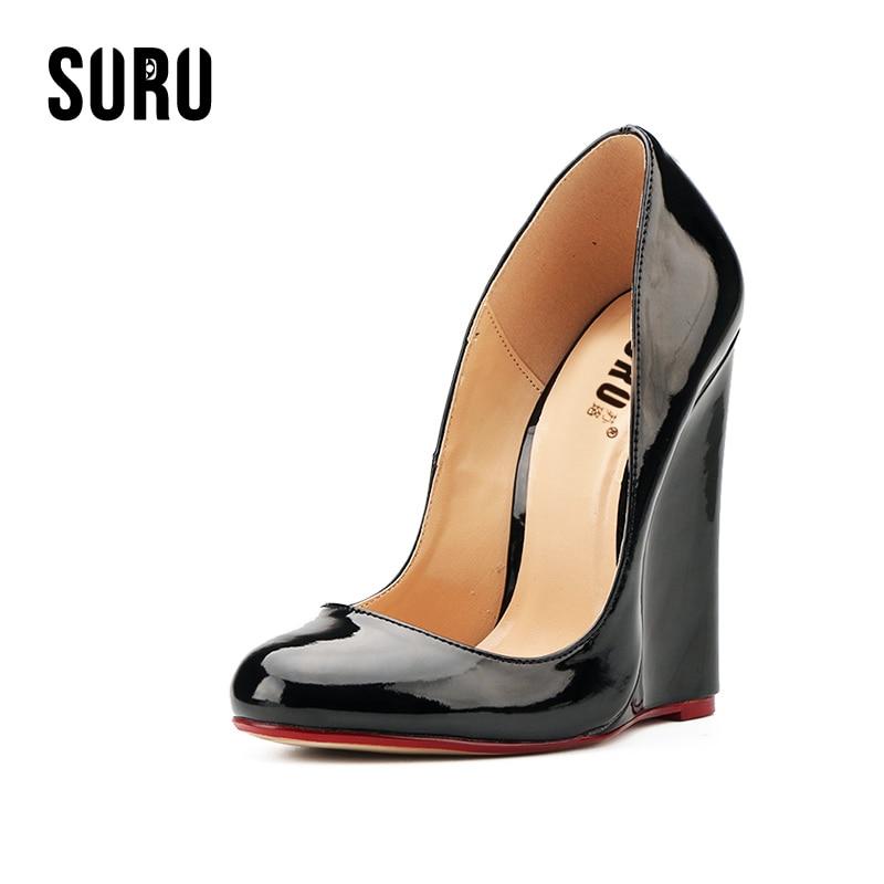 SURU Large Size 40-46 Round Toe Wedges Heels Pumps Women Designer Shoes Patent Black Red , Width W,D A34<br>