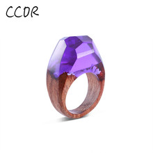 CCOR New Resin Secret Wood Rings Bling Bling ring Purple Faceted Rectangle Handmade Magical jewelry, 1pcs,DYR06