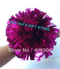 Free shipping,metallic wrist pompom with elastic ,fan cheer leading pom poms,50g.red,black ,green,blue,gold,silver(China)