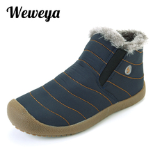 Weweya New Fashion Men Winter Shoes Solid Color Snow Boots Winter Plush Boots Men Cotton Inside Keep Warm Waterproof Ski Boots