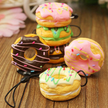 New 1PC Random Color Sent PU Cute Key Colorful Soft Kawaii Squishy Chain Straps Donuts Charms Cell Phone Straps Keychain(China)