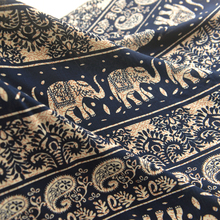 Blue and Black Bottom Beige Elephant National Cotton Silk Thai Scarf Sachet Pants Dress Skirt Silky Clothing Fabric