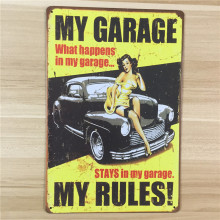 "SP-QC-150 shop signs "" my garage my rules "" metal vintage tin signs painting home decor bar wall art craft sticker  20X30CM"
