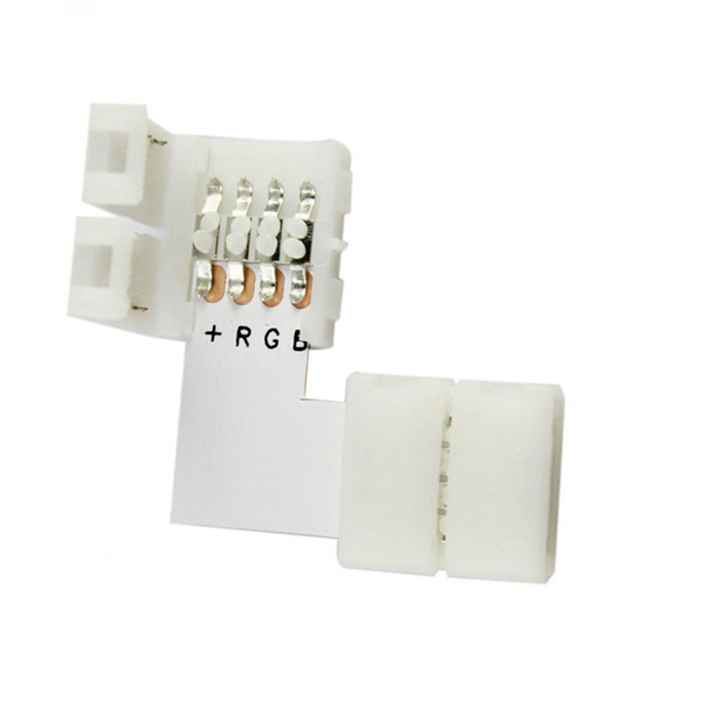 5pcs/lot L shape 4 Pins Connector 10mm for 5050/3528 RGB 4 conductor Quick Splitter Right Angle Corner Connector LED Strip light<br><br>Aliexpress