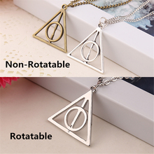 deathly hallows necklace Luna vintage antique silver and bronze triangle rotatable pendant for men and women wholesale