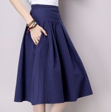 Cotton Linen Pleated Skirt Elastic Waist Skirts Red Blue Green Grey Jupe Femme Saia Midi