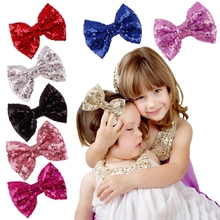 2016 New Cute Bow Shining Butterfly Hair Clip Sequin Bow Baby Toddler Kids Head Hair Acessories For Girls Brithday Gift(China)