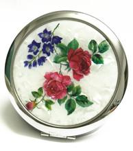 Butterfly & Flower Pattern Make Up Compact Mirror Women 2 Side Fold Pocket Mirror sold per packet of 1