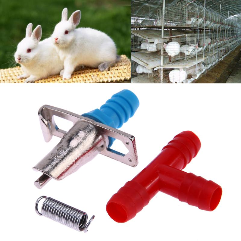 20 Sets Automatic Nipple Water Bunny Feeder Drinker Waterer For Rabbit Rodents