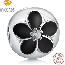 WYBEADS 925 Sterling Silver Black Enamel CZ Mystic Floral Clip Charms European Bead Fit Bracelet DIY Accessories Jewelry P248(China)