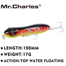 Mr.Charles CMC025 fishing lures 100mm 17g Top water floating popper fishing lure 3D Eyes Quality Professional Fishing Tackle(China)