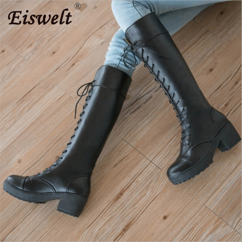 EISWELT Fashion Martin Heels Boot Women Strap Lace Up Boots High Heel Womens Ankle Boot Long Tube Platform Boot Shoes#LQ157<br>