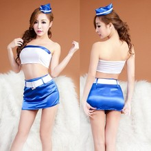Buy Split stewardess sexy costumes women Strapless sexy lingerie dress blend erotic underwear