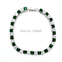 New Spring High Quality Brand Rhodium plated Zircon Bracelet Sapphir Green Gem Cubic Zirconia red Tennis Jewelry For Women