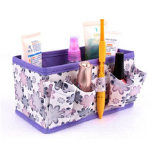 2017 Hot Travel Organizer Pouch Makeup Cosmetic Storage Bag Bright Organizer Foldable Stationary Container Purple Bamboo Fibre(China)