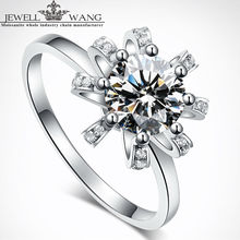 Jewellwang Engagement Rings for Woman Original Design 1.00ct Carat 18K White Gold Ring Sunflower Engagement Fine Jewelry DE FG