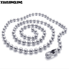 XIAOJINGLING 5PCS/Lot Ball Bead Ball Chain Necklaces DIY Dog Tag Chains Wholesale Men Women Hip Hop Party Jewelry Long Necklace