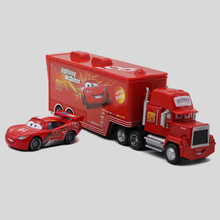 Disney Pixar Cars No.95 Mack Truck + Small Car Lightning McQueen Metal Toy Car For Children 1:55 Loose Brand New In Stock