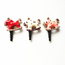 Dust plug 3D Kawaii Little Horse Diamond plugs for cell phones phone accessories USB Anti plug for iphone 5s 6 6s plus s7 s6(China)