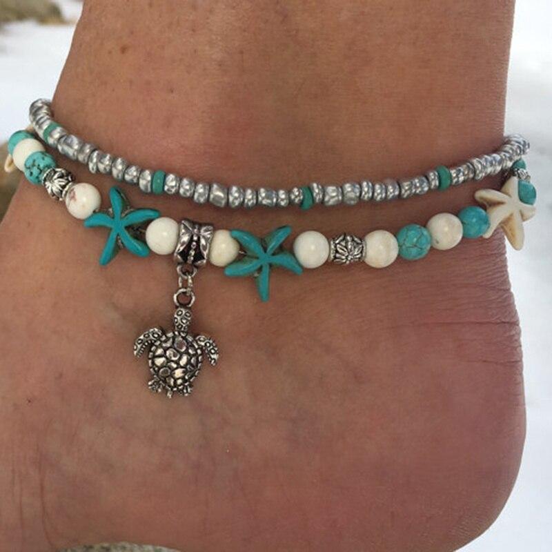 Handmade Sea Star Turtle Anklet