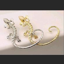 Long Metallic Crystal Charming House lizard Ear Wrap Golden Silver Ear Cuff Trendy Girls Clip Earrings for Women Jewelry